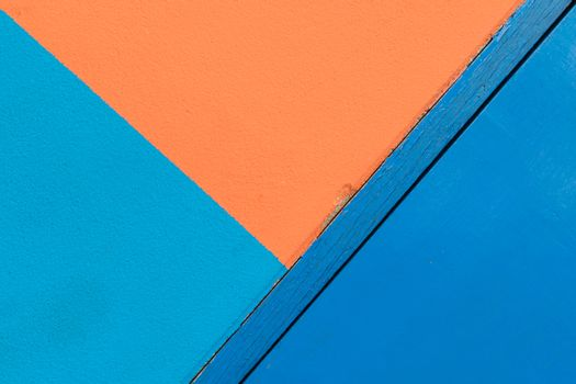 Minimalism style, Blue and orange wall and blue door.