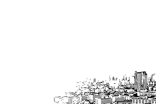 Sketch drawing of cityscape on white background
