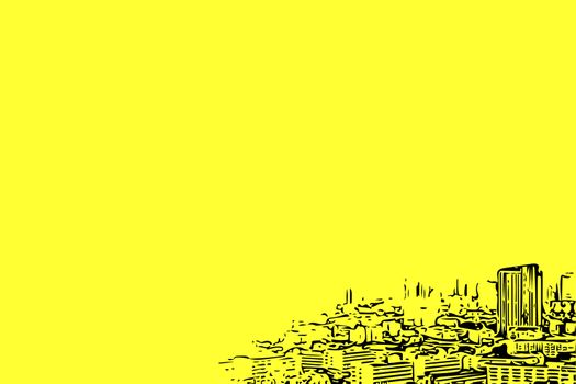 Sketch drawing of cityscape on yellow background