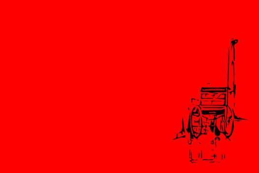 Sketch drawing of wheelchair on red background