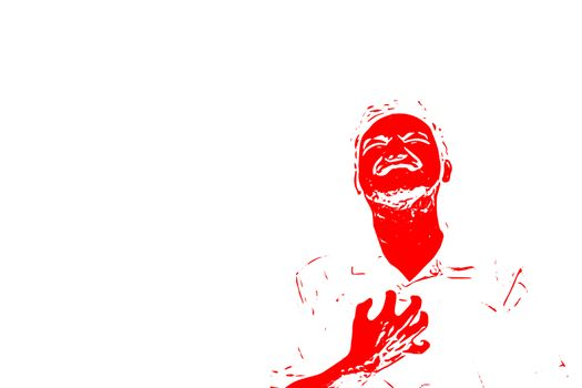 Sketch drawing of man pain disease heart attack