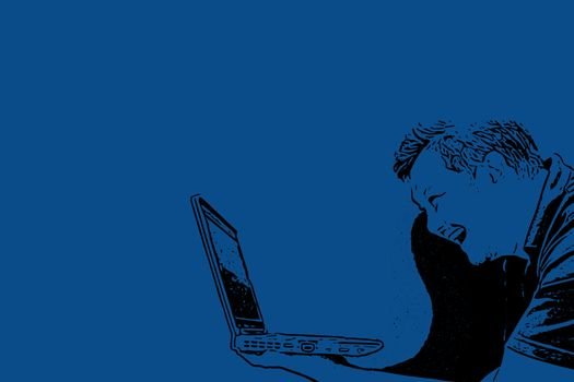 Sketch drawing of man holding laptop with laughing