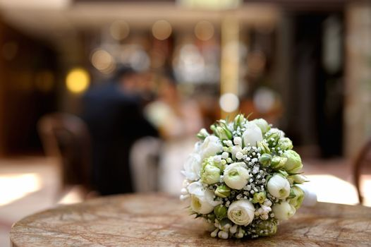 Wedding flowers laying on a table