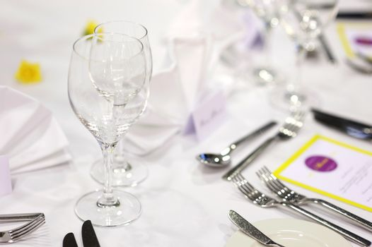 Wine glasses on a festive table