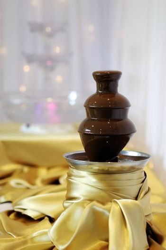 Delicious chocolate fondue fountain
