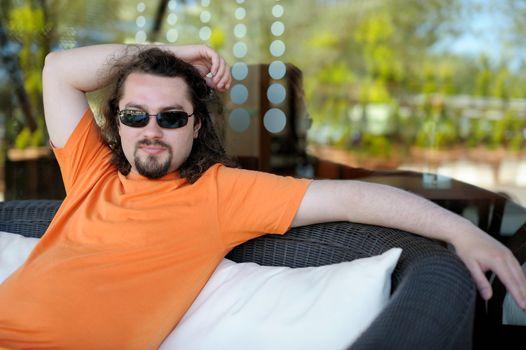 Young man resting at a resort