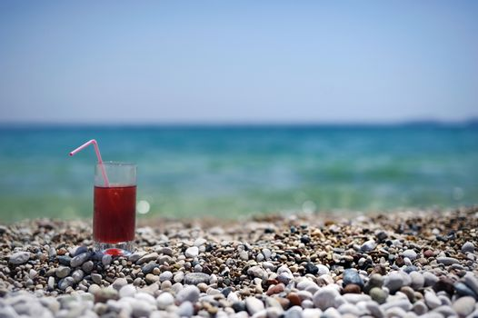 Tropical fresh juice on a  beach