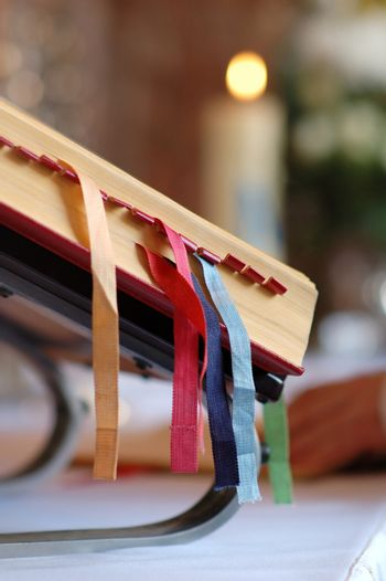 Holy bible with colorful bookmarks