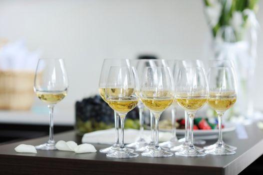 Few glasses of champagne