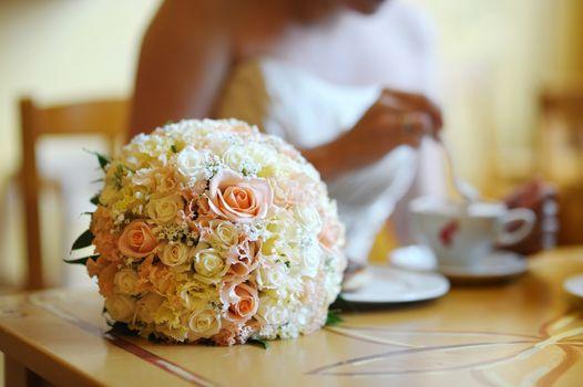 Bridal wedding bouquet on a table