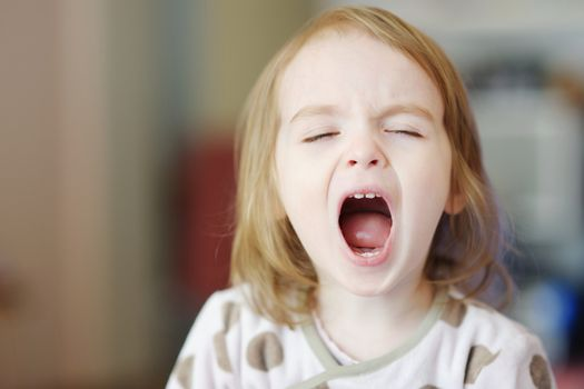 Little funny girl screaming