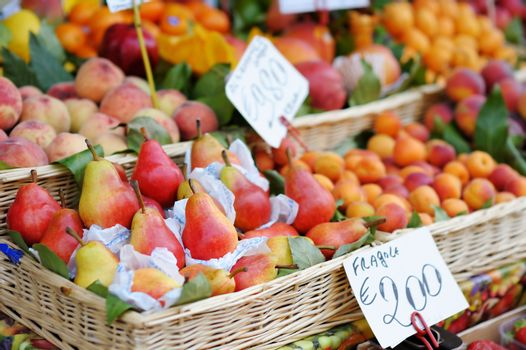 Pears on a fruit market