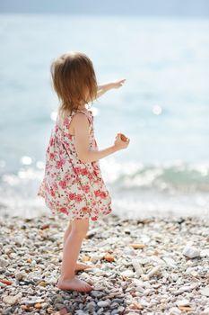 A child having fun on a beach