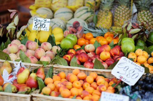 Assorted fruits on a fruit market