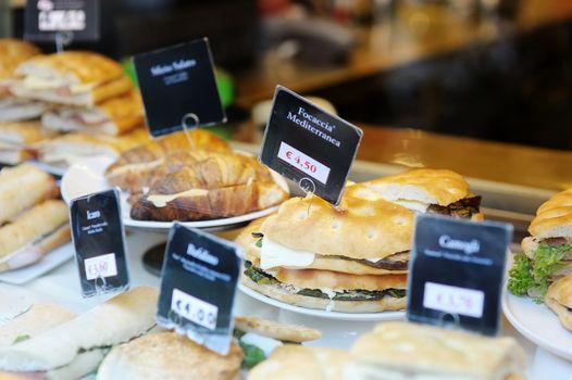 Sandwiches at italian bakery