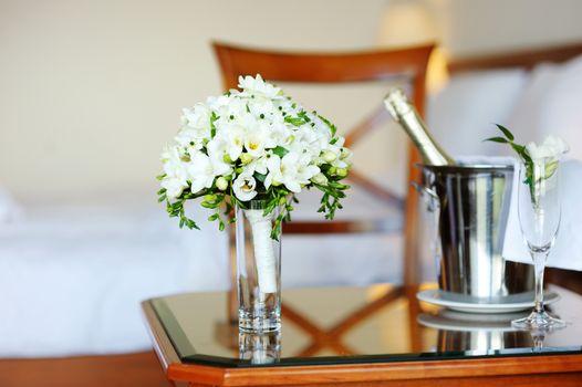 Bridal bouquet of white freesia