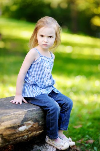 Angry little girl portrait