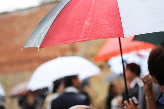 An umbrella under the rain