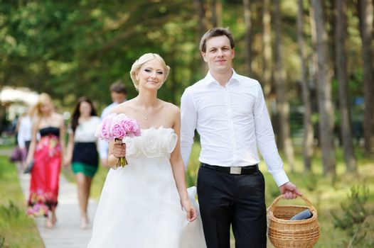Bride and groom having a walk