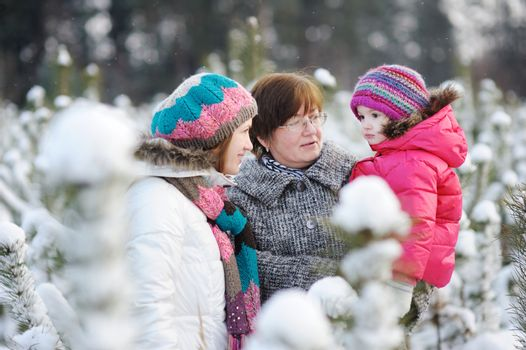 Family at winter day