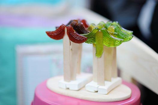 Funny mustache-shaped lollipops
