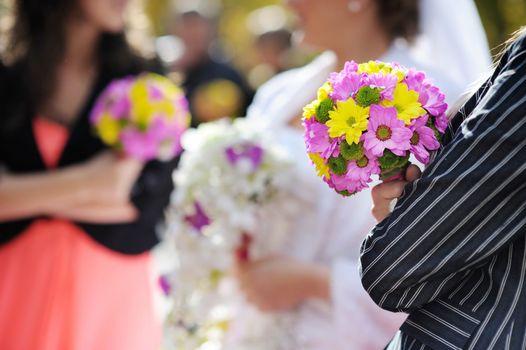 Row of bridesmaids