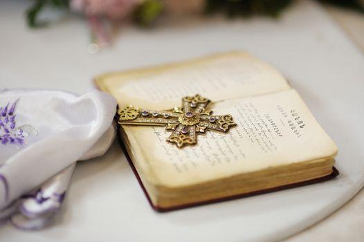 Golden cross with gemstones