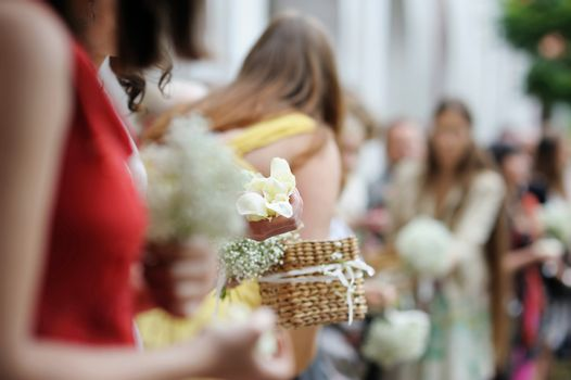 Woman holding rose petals