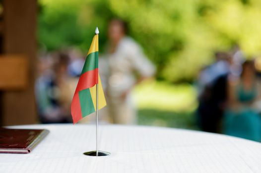 Lithuanian flag on a table
