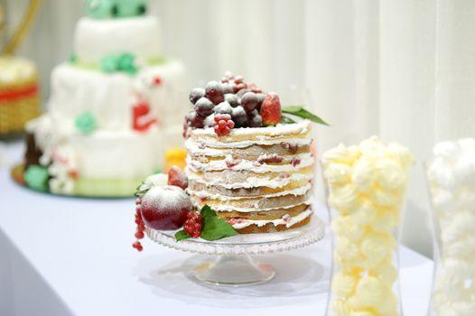 Wedding cake decorated with fruits