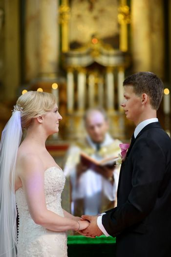 Bride and groom at the church