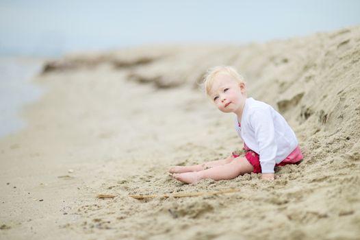 Adorable toddler girl on a sandy beach