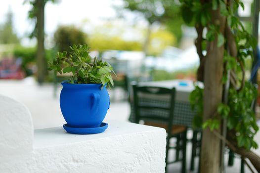 Greek courtyard with blue flower pot