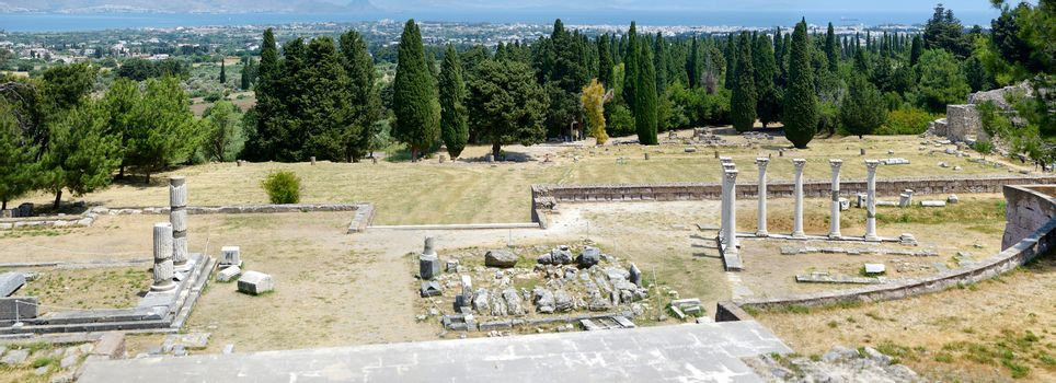 Panorama of historical ruins of Asclepieion on Kos