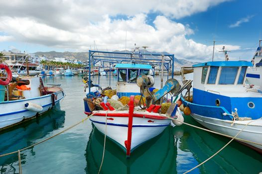 Fishing boats in a harbor
