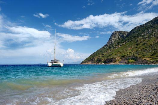 Beautiful yacht in mediterranean sea