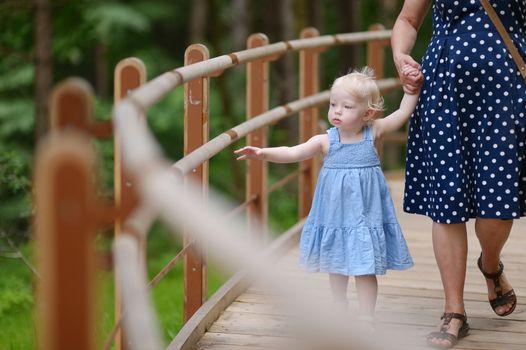 Little girl having a walk