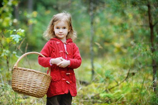 Cute little girl picking mushrooms