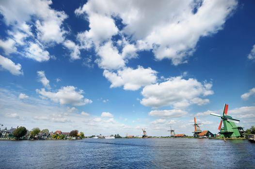 Windmill landscape in the Zaanse Schans