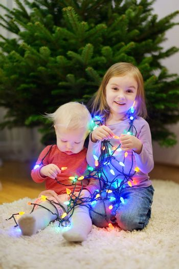 Two sisters decorating Christmas tree