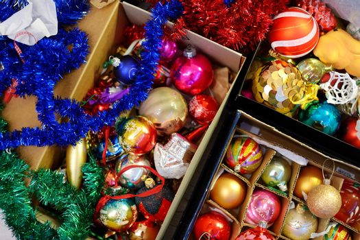 Various colorful Christmas decorations