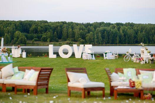 Huge LOVE letters as a fancy wedding decoration