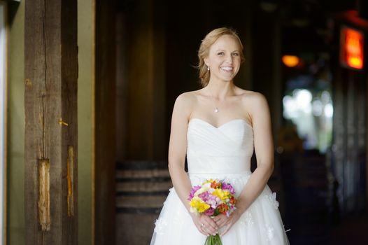 Indoor portrait of a beautiful young bride