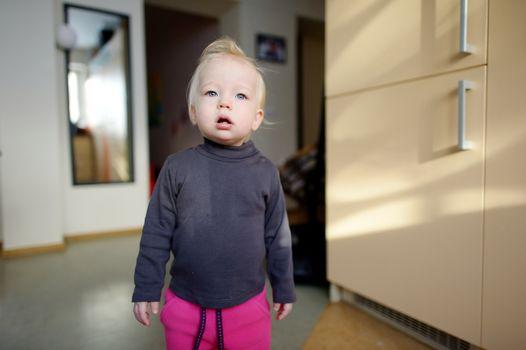 Indoor portrait of a toddler girl