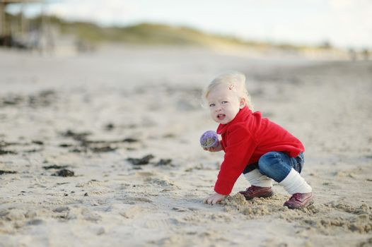 Adorable little girl playing by the seashore