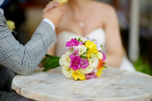 Beautiful wedding bouquet laying on a table