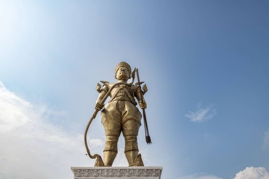 Sdech Korn Statue stands by the seaside with blue skies beside the Crab Market, Krong Kaeb, Kep, Cambodia