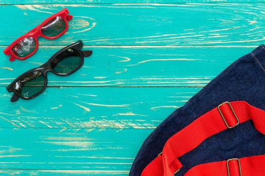 Accessories for vacation at beach, vintage style background.