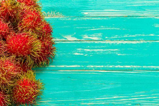 Rambutan, tropical fruit, common fruit in Southeast Asia countries.