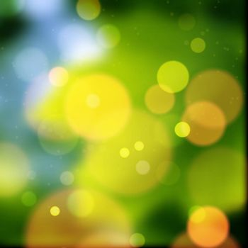 Amazing green and yellow bokeh abstract background. Vector format